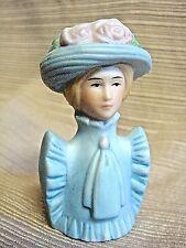 1982 Porcelain THIMBLE - 3-D Victorian Lady in Blue Dress & Bonnet - AVON