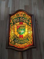 Rare 25x16 Old Style Beer Lighted Sign Faux Stained Glass Vintage Heilemans