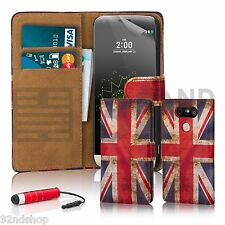 32nd Design Book PU Leather Wallet Case Cover for LG Phones + Screen Protector