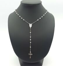 Ladies Necklace White Gold 14ct (585, 14K) Bead Chain with Cross Necklace