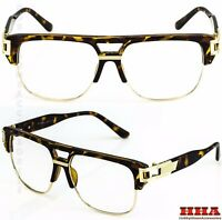 VINTAGE RETRO CLASSIC Hip Hop Style Clear Lens Eye Glasses Gold Fashion Frame T