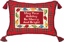 """Pillows - """"Merry And Bright"""" Pillow - Petit-Point Christmas Pillow"""