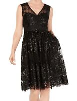 Adrianna Papell Women's Dress Black Size 4 Sheath V-Neck Mewsh Sequin $249 #550