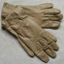 Vintage Gloves WOMENS Leather Retro NATURAL CREAM BEIGE