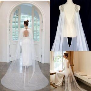 Ivory White Tulle Bridal Wedding Cape Shoulder Veils Rhinestone Black Champagne