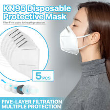[5 PCS] KN95 Protective 5-Ply Face Mask >95% PM2.5 Disposable Respirator K-N95
