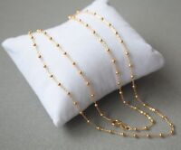 AU750 Pure 18k Yellow Gold Women 1.7mm O Bead Link Chain Necklace/ 2g / 17.7inch
