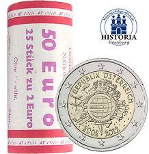 25 x Autriche 2 Euro pièce commémorative 2012 BFR. 10 ans EURO FIDUCIAIRE dans rôle