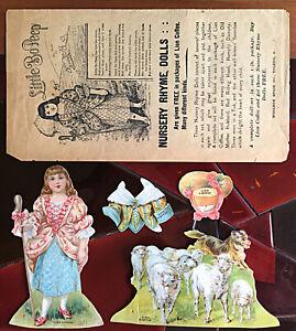 Little Bo Peep 4 piece paper doll scene from Lion Coffee Nursery Rhyme series