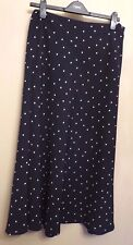 Marks & Spencer UK12 EU40 US8 new navy blue A-line lined skirt with white spots