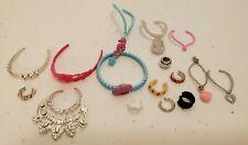 Barbie Doll Lot of 17pc Jewelry Crown Necklace Bracelet Pink Silver EUC!