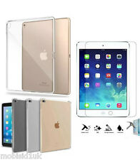 Ultra Thin Clear TPU Gel Skin Case Cover+Tempered Glass For Apple iPad Air 2