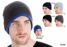 RJM Adult Reversible Hat Woolly Winter Winter Warm Ski Cap Bonnet Multicolour