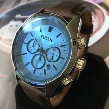 Mens Fossil Designer Watch CH2564 COACHMAN Chronograph Blue Brown Leather
