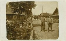WWI GERMAN Soldiers Uniform Village RUSSIA Horses Houses Real Photo PC c1916
