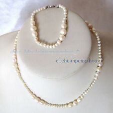 14'' 6'' Natural 3-7mm White Freshwater Pearl Jewelry Necklace Bracelet Kids Set