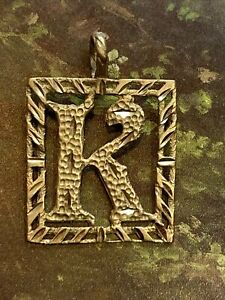 14K Yellow Gold Letter K Initial Charm or Pendant by Michael Anthony