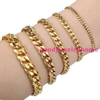 """7""""-11"""" Men Cuff Bracelet Stainless Steel Gold Tone Curb Cuban Link Chain Jewelry"""