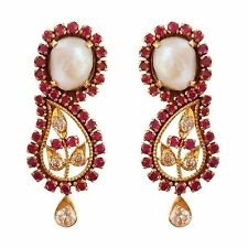 0.35Ct Genuine Diamonds Ruby & Pearl 18Kt Yellow Gold Drop Earrings Antique