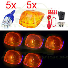 194 Blue LED Cab Roof Top Light Marker Running Lamp Amber 5Pcs Set+ Wiring Pack