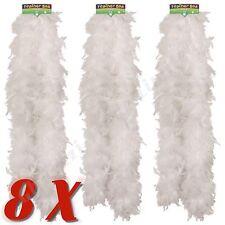 8X White Feather Boa Burlesque Hen Night Halloween Showgirl Wholesale Job Lot