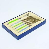 Laguiole Set of 6 Traditional Dessert Forks Spoons Stainless Steel Green & Blue