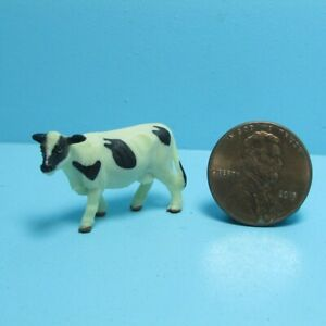 Dollhouse Miniature Plastic Rubber Toy Black and White Cow MUL6016