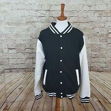 Just Hoods By AWDis JH043 Varsity letterman college Jacket Black White Large