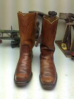 SQUARE TOE BROWN MADE IN USA DISTRESSED ENGINEER TRAIL BOSS COWBOY BOOTS 9 D