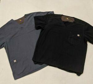 Lot 2 Carhartt Scrub Top Ripstop Multi-Pocket Hospital Uniform XL Black/Gray