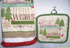 HAND TOWEL + HOT POT HOLDER PINE TREES: 2PC: KITCHEN-CHRISTMAS:FREE SHIPPING