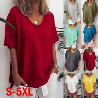 Plus Size Women Summer Short Sleeve T Shirt Blouse Cotton Linen Basic Tee Top UK