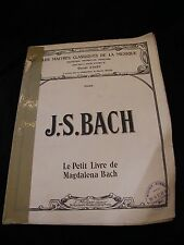 Partition J S Bach le petit livre de Magdalena Bach Music Sheet