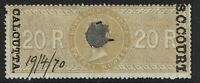 India 20R S.C. Court Calcutta, Used, BF# 54, Type A, see notes - S2010