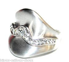 Bague rhodium argenté finition brossée cristal blanc T 54 bijou ring