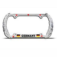 LOVE GERMANY GERMAN FLAG Chrome Heavy Duty Metal KING License Plate Frame