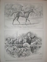 Derby horse race winner Sir Hugo 1892 print