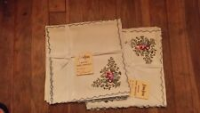 """11 VINTAGE MADERIA HAND EMBROIDERY FLORAL LINEN 19"""" DINNER NAPKINS FREE SHIPPING"""