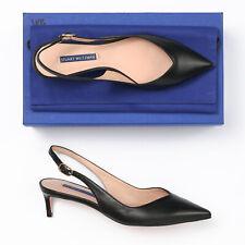 Stuart Weitzman Edith Black Nappa Leather Slingback Heels - Size 7.5 M