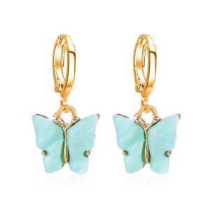 2021 Women Ladies Color Butterfly Ear Hoop Drop Dangle Earrings Jewelry Fashion