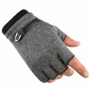 Fingerless Men Gloves Driving Suede Leather Black Grey Half Finger Men Elastic O