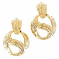 Vintage 1980S Gold Tone Pierced Earrings Big Swirled Door Knocker