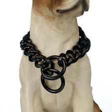 "24"" 19mm Stainless Steel Black Flat Link Curb Bulldog Big Dog Chain Collar"