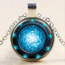 Stargate Portal Atlantis Cabochon Tibetan silver Glass Pendant Necklace