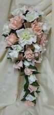 WEDDING FLOWERS BRIDAL TEARDROP BOUQUET PEACH AND CREAM ROSES,