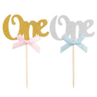 6x ONE Cupcake Toppers Gold Glitter, first birthday, number 1, 1st cake, baby