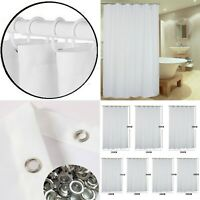 Fabric Plain White Bath Shower Curtain Extra Long Wide Standard With Hook Rings