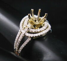 6.0mm Round Cut Solid 14K Yellow Gold Natural Diamond Semi Mount Ring Setting