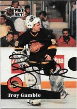 Autographed Troy Gamble 1991- 1992 PRO SET Hockey Card Vancouver Canucks