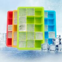 Silicone Ice Cube Tray Freeze 15Cavity Large Cube Ice Pudding Jelly Maker Mold F